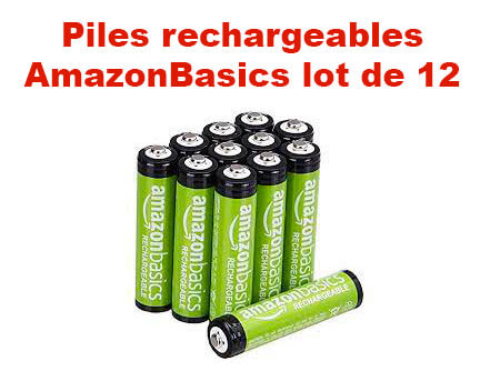Lot de 12 piles Amazon Basics